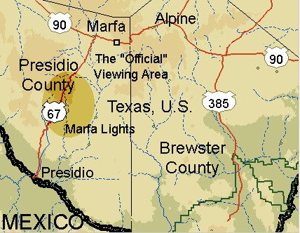 although the official marfa lights viewing area is located on highway 90 just east of marfa the lights themselves actually appear along highway 67 about