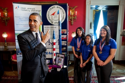 President Barack Obama hosts the second White House Science Fair celebrating the student winners of a broad range of science, technology, engineering and math (STEM) competitions from across the country. The President viewed the work of Presidio, Texas, students Janet Nieto and Ana Karen, of Presidio High School's Rocketry Team, and 7th grade student Gwynelle Condino, of Lucy Franco Middle School, in the Red Room of the White House, Feb. 7, 2012. (Official White House Photo by Lawrence Jackson)