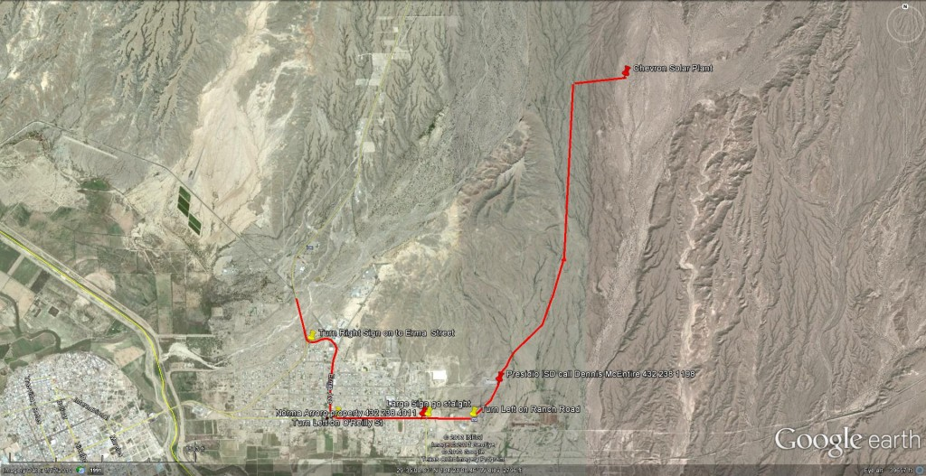 Truck route to Chevron Solar plant