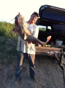 David Knight and his 30 pound catfish caught on the Rio Grande near Presidio, Texas